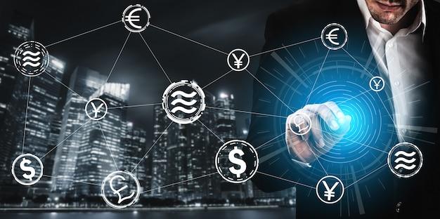 Pièce de crypto-monnaie balance dans l'économie de l'argent numérique
