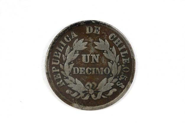 Pièce un decimo du chili 1885