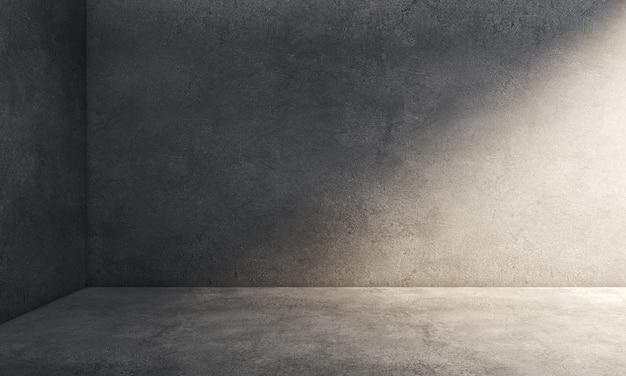 Pièce intérieure avec coin de murs et sol en béton de ciment sale.