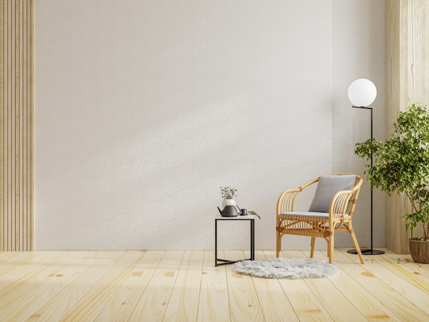 Pièce intérieure moderne avec de beaux meubles avec fauteuil sur fond de mur blanc vide, rendu 3d
