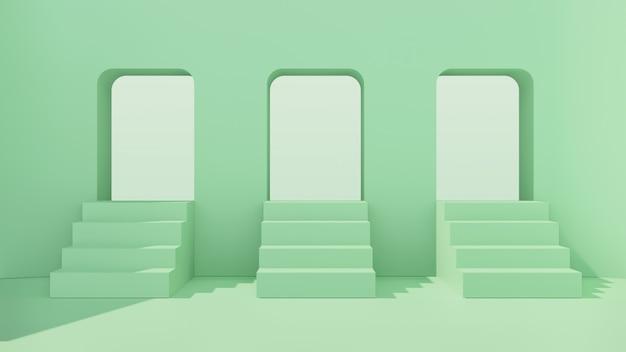 Pièce intérieure avec trois escaliers