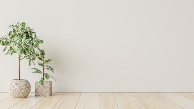 Pièce intérieure vide de mur blanc avec des usines sur un plancher, rendu 3d