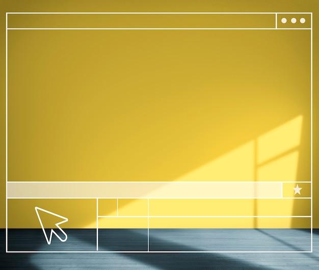 Pièce jaune recherchant le concept de fond de mur de structure