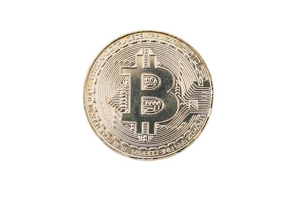 Pièce de monnaie bitcoin argent cercle isolé sur fond blanc.