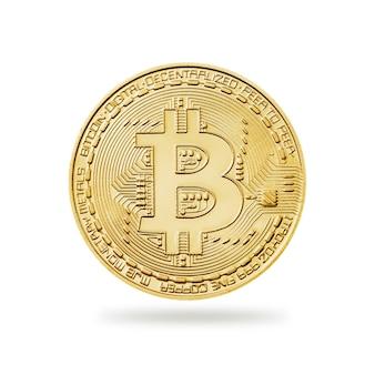 Pièce de monnaie bitcoin sur le blanc