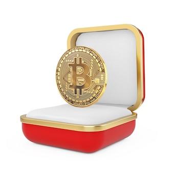 Pièce de monnaie bitcoin cryptocurrency d'or numérique dans la boîte-cadeau rouge sur fond blanc. rendu 3d