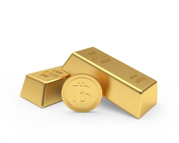 Une pièce de monnaie bitcoin et deux lingots d'or