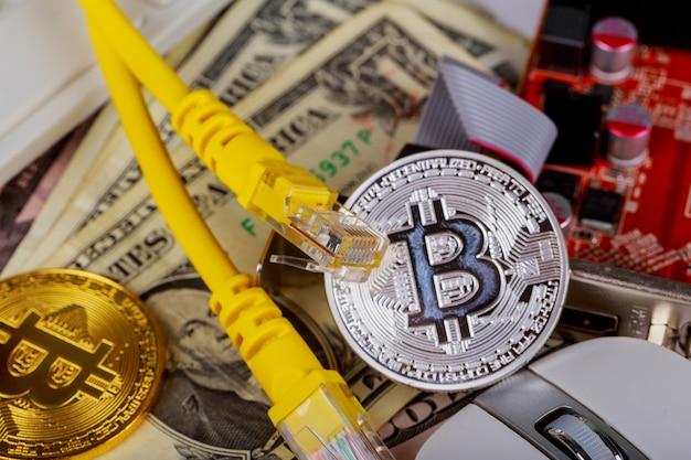 Pièce de monnaie bitcoin dollars carte graphique fil internet