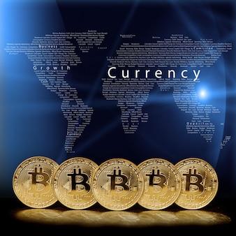 Pièce de monnaie bitcoin sur fond noir
