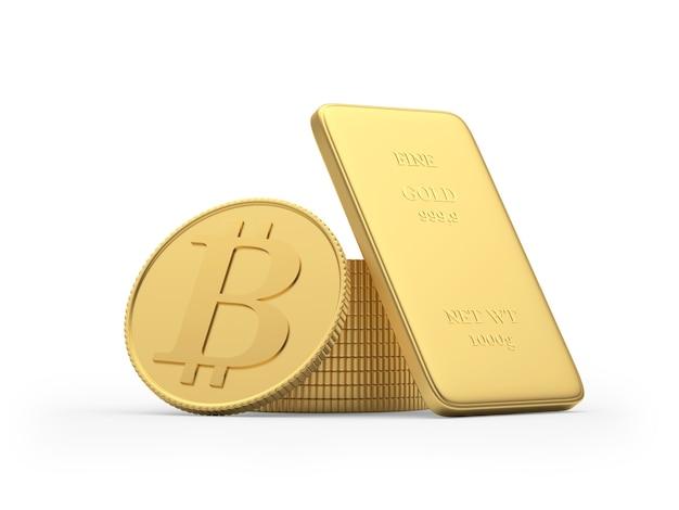 Pièce de monnaie bitcoin et lingot d'or