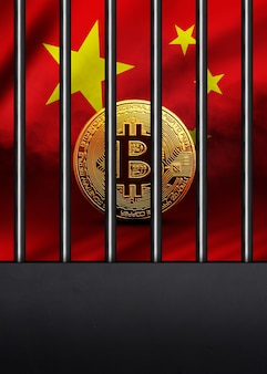 La pièce de monnaie bitcoin d'or sur le concept de crypto-monnaie de fond de drapeau chinois est enfermée dans une cage en fer