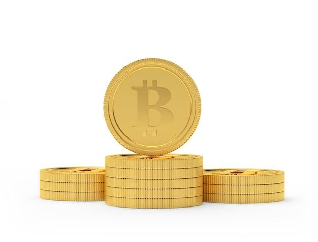 Pièce de monnaie bitcoin sur une pile de pièces d'or