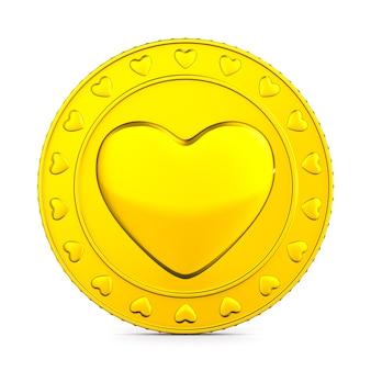Pièce de monnaie avec coeur de symbole sur fond blanc. illustration 3d isolée