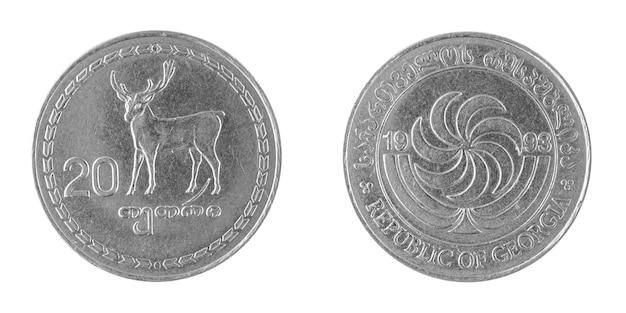 Pièce de monnaie géorgienne 20 tetri isolé sur fond blanc photo