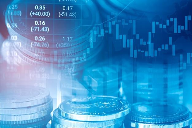 Pièce de monnaie et graphique financiers d'investissement boursier