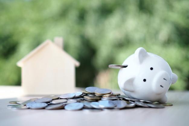 Pièce de monnaie avec tirelire, cochon blanc et modèle de maison