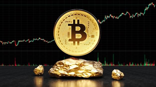 Pièce d'or bitcoin avec de l'or.