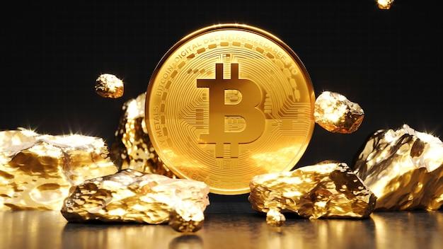 Pièce d'or bitcoin avec une pièce d'or