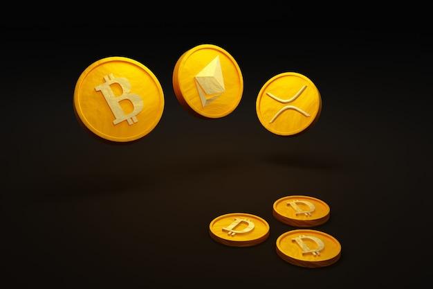 Pièce d'or de monnaie cryptographique avec pièce d'argent dollar sur le sol illustration 3d