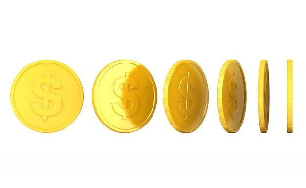 Pièce d'or rendu 3d sur fond blanc