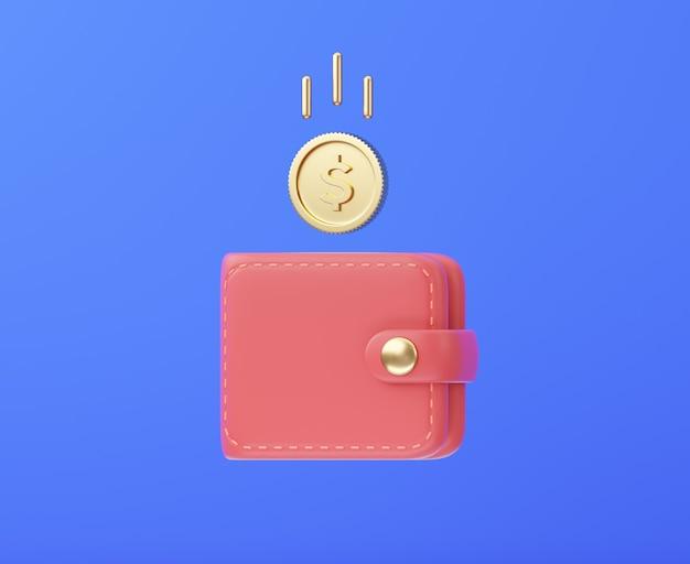 Pièce d'or tombant dans le portefeuille concept de remise en argent du commerce électronique