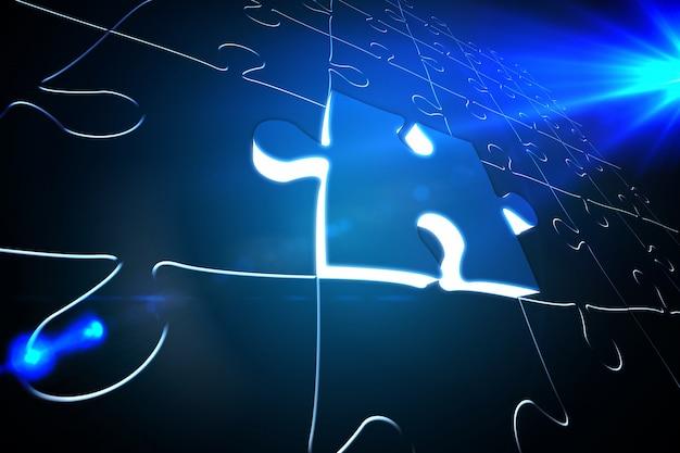 Pièce de puzzle bleu brillant sur puzzle