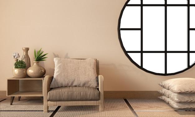 Pièce de style japonais avec mur vide sur tatami, rendu 3d