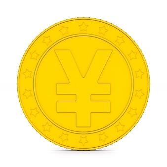 Pièce avec symbole yen sur fond blanc. illustration 3d isolée