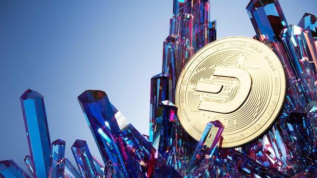 Pièce de tiret et cristaux illustration 3d. fond de crypto