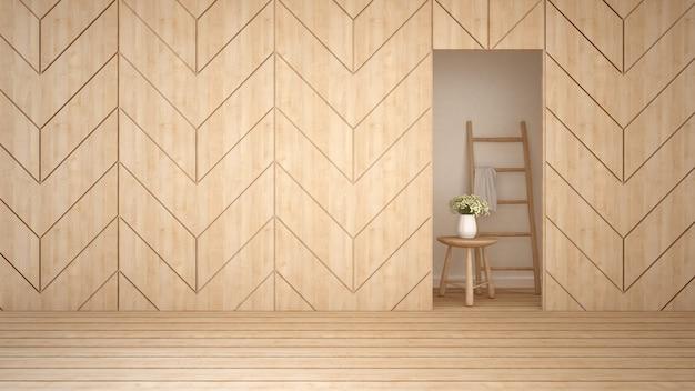 Pièce vide en bois dans un appartement ou un hôtel - rendu 3d