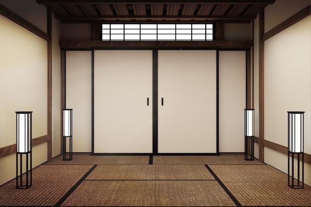 Pièce vide, maquette, pièce japonaise de tatami de pièce vide japonaise concevant le plus beau. rendu 3d