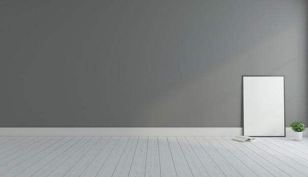 Pièce vide minimale avec cadre photo et rendu 3d de mur gris