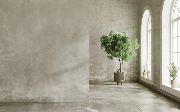 Pièce vide avec des murs sales et l'arbre dans le pot rendu 3d de la maquette intérieure