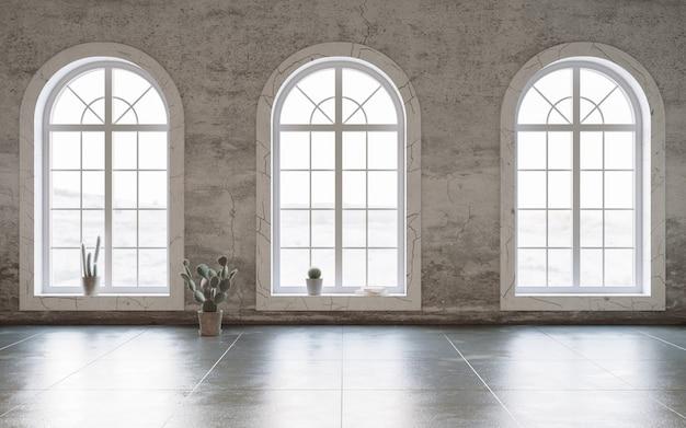 Pièce vide avec des murs sales et des fenêtres en arc rendu 3d de la maquette intérieure