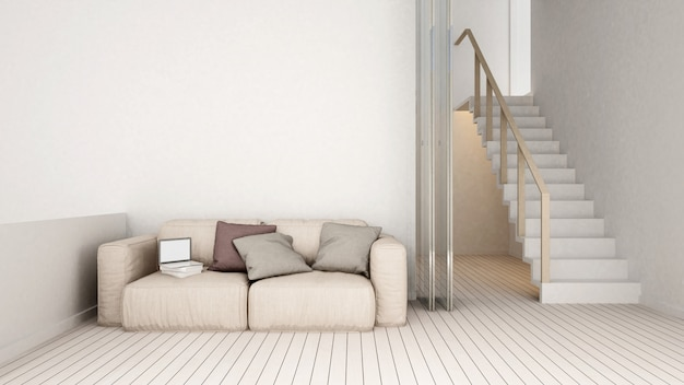 Pièce de vie et escalier au design épuré à la maison ou à l'appartement
