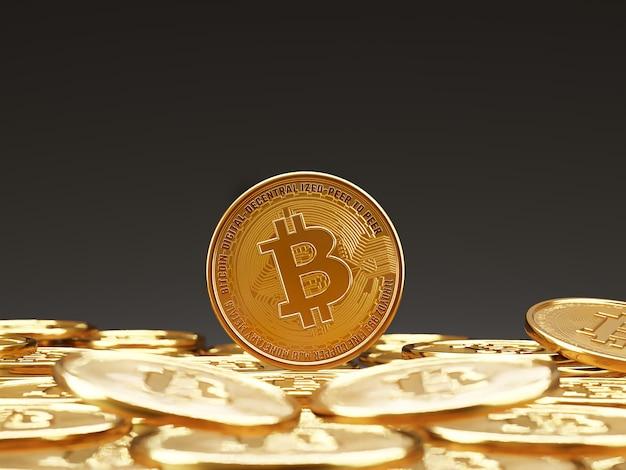 Pièces bitcoin empilées sur fond sombre