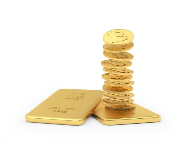 Les pièces bitcoin tombent dans une pile de lingots d'or