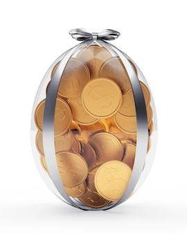 Pièces d'un dollar en or dans l'oeuf de pâques transparent