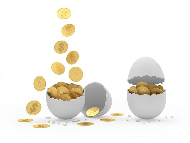 Les pièces d'un dollar tombent dans des coquilles d'œufs cassées