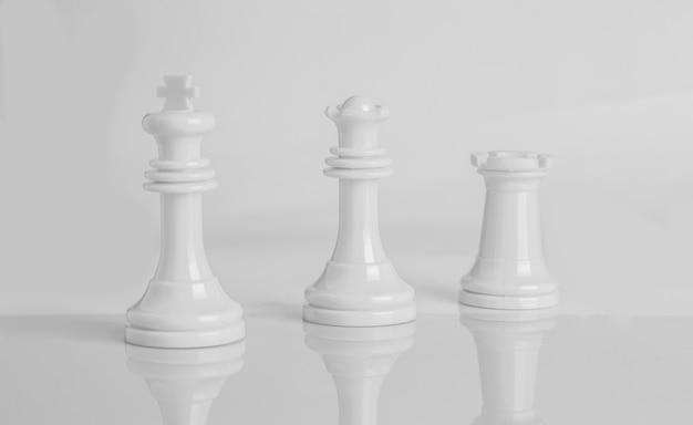 Pièces d'échecs isolés en noir et blanc