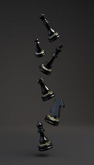 Pièces de jeu d'échecs noires flottant. illustration 3d. bannière verticale.