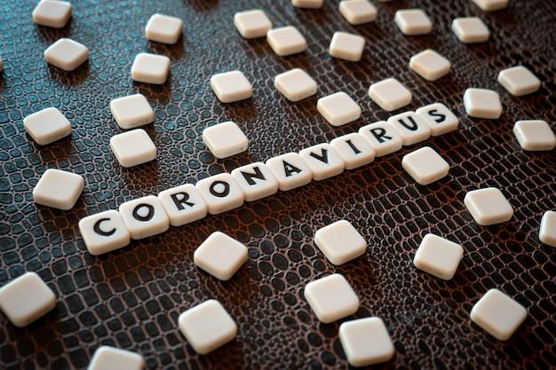 Pièces de jeu de mots croisés formant le mot «coronavirus»