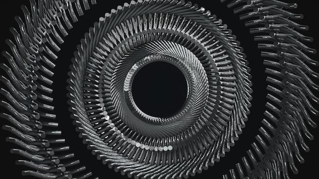 Pièces métalliques répétées circulaires motif illustration 3d
