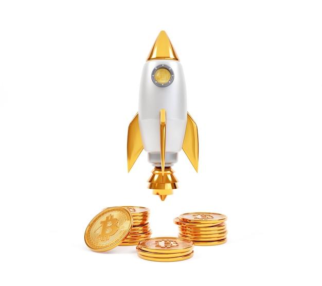 Pièces de monnaie bitcoin empilées avec lancement de fusée isolé sur fond blanc.