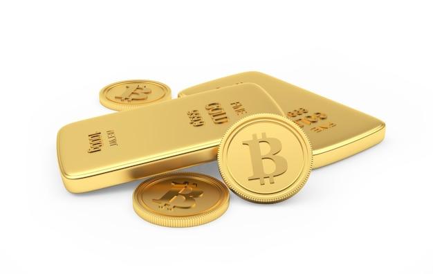 Pièces de monnaie bitcoin avec des lingots d'or