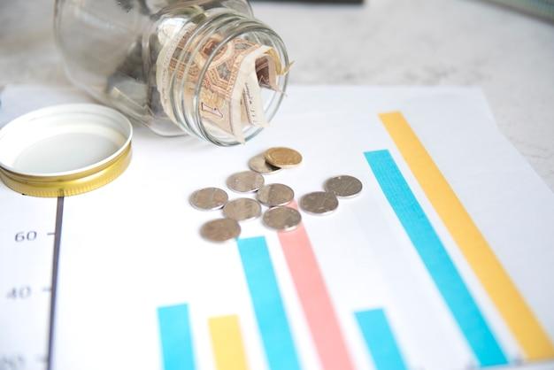 Pièces de monnaie et pot sur les statistiques