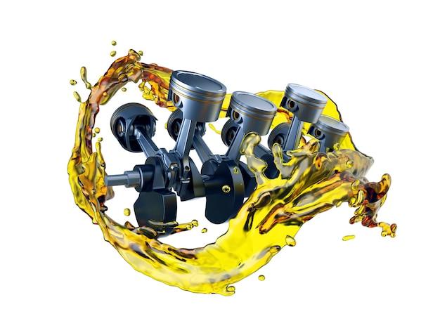 Pièces de moteur de voiture avec de l'huile lubrifiante lors de la réparation