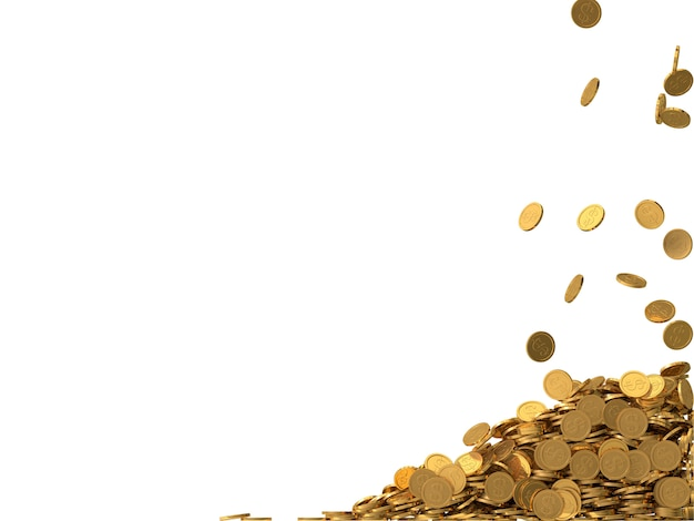 Pièces d'or arrondies avec le symbole du dollar.