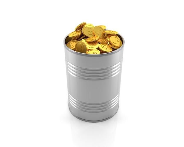 Les pièces d'or dans un bidon métallique sur fond blanc.