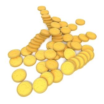 Pièces d'or sur fond blanc illustration 3d